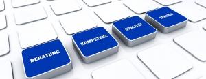 Quader Konzept Blau - Beratung Kompetenz Qualität Service